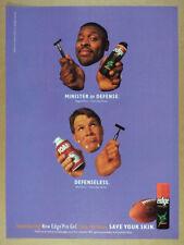 1997 Reggie White Brett Favre photo Edge Shaving Gel vintage print Ad