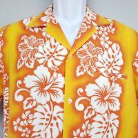 Royal Creations Hawaii Aloha Shirt M Orange White Hibiscus Palms Hawaiian Vtg