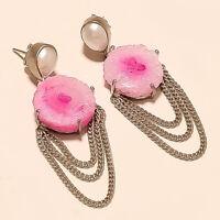 Russian Pink Solar Druzy, Pearl Earrings 925 Sterling Silver Christmas Jewelry