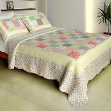 3 Pc Sunny Travel pastel floral squares 100% Cotton Vermicelli Queen Quilt Shams