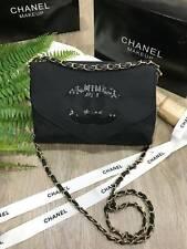 chanel black canvas sequins VIP makeup bag