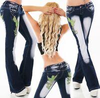 Femmes Hanche Jeans Bootcut Pattes D'Éléphant Pantalon Broderie Tatouage Oiseau