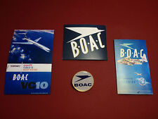 B.O.A.C. AIRLINES  GOLD PLATED BADGE  +   3 X RETRO ADVERT STICKERS