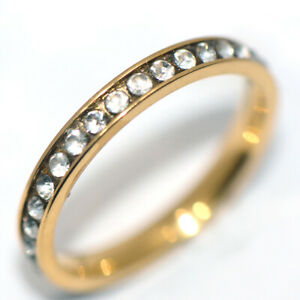 Around Crystal Stone Round Band Ring Gold Jewelry Rings Wedding Womens Size 8