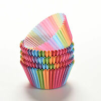 100X Cupcake Liner Baking Rainbow Cup Paper Muffin Case Cake Box Tray Mold YA9C
