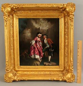 19thC Antique Signed French Genre Oil Painting, 18thC Courting Couple & Dog NR