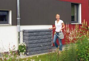 Regentonne 400 Liter Garantia Rocky Wandtank 400l dark granite Wassertank Tank