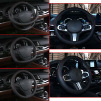Black PU Leather Car Steering Wheel Cover Anti-slip Protector For 38cm Universal