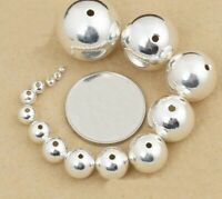 Sterling Round Ball Beads Spacer 925 Silver DIY Bracelet Necklace Jewelry Decor