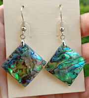 Natural Abalone shell beads earrings pair Reiki Healing Amulet