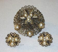Vintage Dress Clip and Earrings of Antiqued Brass with Faux Pearl Set