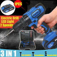 CORDLESS COMBI DRILL DRIVER ELECTRIC BATTERY POWER SCREWDRIVER WITH BITS SET 21V