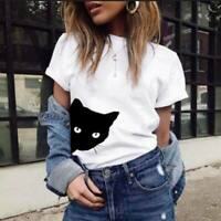 Adults Women's Fashion T-Shirt Casual Top Shirt Cat Printed Loose Blouse Tee