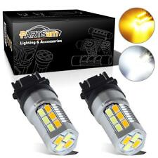 2Pcs Amber&White Super Bright LED Bulbs Switchback 3157 Front Turn Signal Light