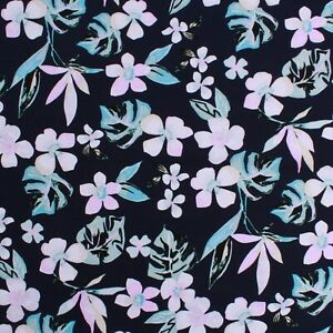 """100% Cotton Lawn, Watercolour Petals, Summer, Spring, High Quality 58"""" Navy"""