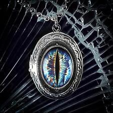 Blue Sci-fi Eye Dragon Creature Taxidermy Eyeball Silver Fantasy Locket Necklace