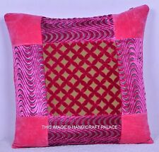 """16"""" INDIAN COLORFUL VELVET TOSS PILLOW CUSHION THROW Cover Ethnic Decor"""