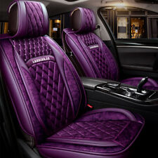 Purple Leather Plush Car Seat Cover Set Front Rear Universal Fit 99% 5 Seats Car