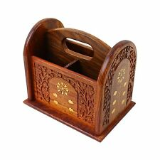 Remote Control Stand Hand Carved Wooden Holder Organiser TV Caddy 3 Compartments