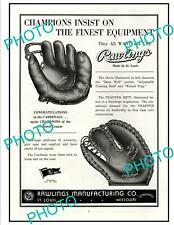 OLD 6x4 HISTORIC POSTER, ST LOUIS MISSOURI RAWLINGS BASEBALL GLOVES c1940s