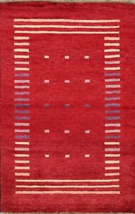 Geometric Gabbeh Kashkoli Oriental Area Rug Hand-knotted Contemporary RED 3'x4'