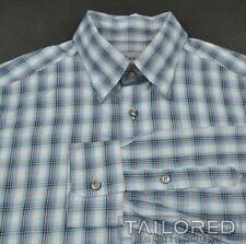 BRIONI Blue Plaid Check 100% Cotton Mens Casual Dress Shirt - LARGE