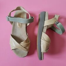 00e2ad4bfbb Bussola Taupe Leather Open Toe Demi Wedge Hook Loop Ankle Strap Sandal Size  37