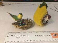 Vintage Spun Cotton & Feather Bird with twig nest, pear birdhouse mercury beads