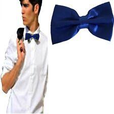 Papillon blu da uomo donna in raso farfallino cravattino cerimonia regolabile