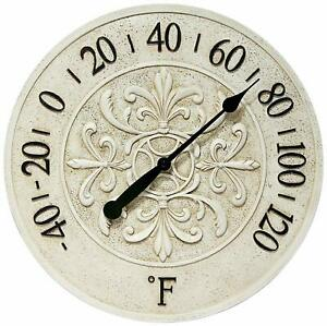 Infinity Instruments 13377ST 15 Inch Le Blanc Fleur Faux Stone Wall Thermometer
