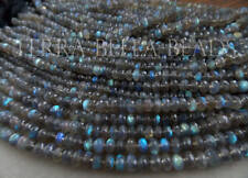 "9"" AAA LABRADORITE faceted rondelle gem stone beads 6mm - 6.5mm blue green multi"