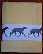 SCOTTISH DEERHOUND DOG LARGE HAND/GUEST TOWEL WATERCOLOUR PRINT SANDRA COEN ART