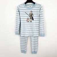 Hanna Andersson Long John Star Wars Rey BB-8 BB8 Blue Striped Pajama Set 140 10