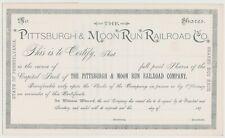Pittsburgh & Moon Run Railroad Co. Stock Certificate