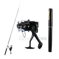 Portable Mini Aluminum Pocket Pen Shape Fishing Fish Rod Pole + Reel Black