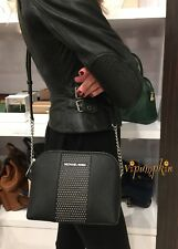 MICHAEL KORS MICRO STUDDED CINDY DOME CROSSBODY SAFFIANO LEATHER BAG BLACK
