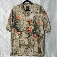 Caribbean Joe Men's Shirt Large Beige Floral Hawaiian Button Front Washable Silk
