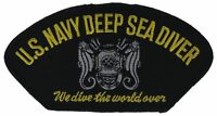 Navy Deep Sea Diver 5 inch Black Silver Cap Hat Embroidered Patch F2D10E