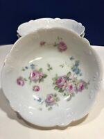 Vintage Flowered White Porcelain Fruit or Dessert Bowls Made in Germany set of 6