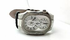 Philip Stein Stainless Steel Diamond Watch Lizard Band Italy Fashion Jewelry