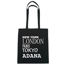 New York, London, Paris, Tokyo ADANA  - Jutebeutel Tasche - Farbe: schwarz