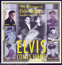 Elvis PRESLEY ELVIS arriva a casa UMM Foglio di Francobolli (Liberia)