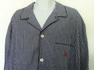 Polo Ralph Lauren Sleepwear Shirt Plaid Blue Off White Pocket Pink Logo Sz L NWT