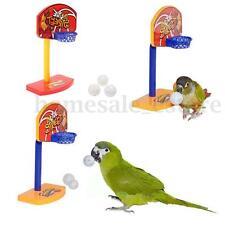 Brain Game Pet Bird Toys Parrot Basketball Hoop Trick Prop+ 3pcs Bell Balls