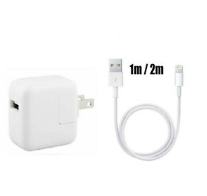 12W USB Power Adapter Charger for iphone 6 7 8 Plus X iPad 2 3 4 Air 3/6FT Cable