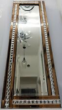 Full Length Wall Mirror Gold Copper Brown Sparkly Silver Crystal Border 120x40cm