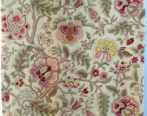 """Waverly Imperial Dress Drapery Panel Jacobean Floral Gold Red Green 48W X 82""""L"""