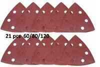 21 x HOOK & LOOP TRIANGLE DETAIL SANDING SHEETS Delta 60/80/120 Grit Pads
