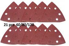 21 X Hook & Loop Triángulo detalle hojas de lija DELTA 60/80/120 Almohadillas de grano