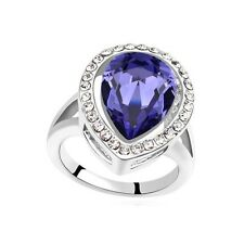 VINTAGE INSPIRED BIG 18K WHITE GOLD PLATED GENUINE PURPLE CUBIC ZIRCONIA RING